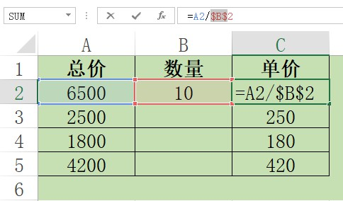教你Excel中自动填充除法公式时固定分母单元格  Excel 第2张