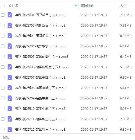有声小说谢涛演播版《春秋》1-13部799回合集[MP3/4.91GB]百度云下载  广播剧 第2张