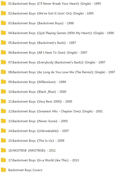 Backstreet Boys(后街男孩)组合(1995-2019)精选18张专辑合集打包[APE/FLAC/5.17GB]百度云下载  乐队 第2张